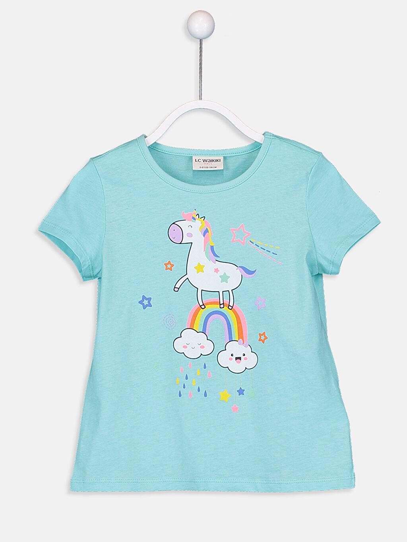 Turkuaz Kız Çocuk Baskılı Pamuklu Tişört 9SV123Z4 LC Waikiki