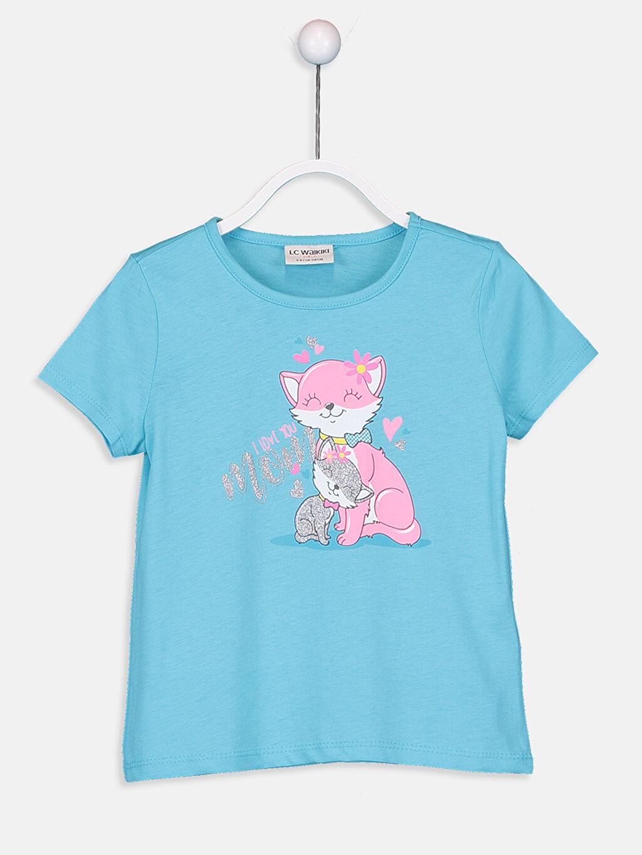 Turkuaz Kız Çocuk Baskılı Pamuklu Tişört 9SV125Z4 LC Waikiki