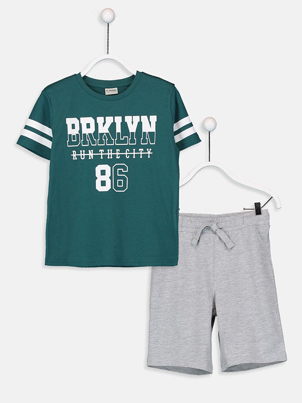 Yeşil Erkek Çocuk Pamuklu Tişört ve Şort 9SV528Z4 LC Waikiki