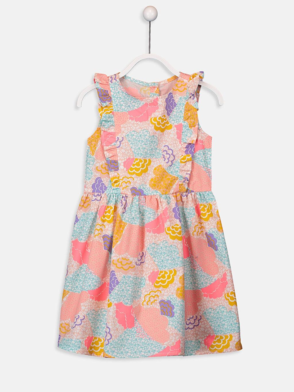 Pembe Kız Çocuk Desenli Poplin Elbise 9SV987Z4 LC Waikiki