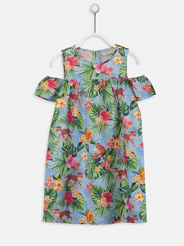 Mavi Kız Çocuk Omuzu Açık Çiçekli Elbise 9SV988Z4 LC Waikiki