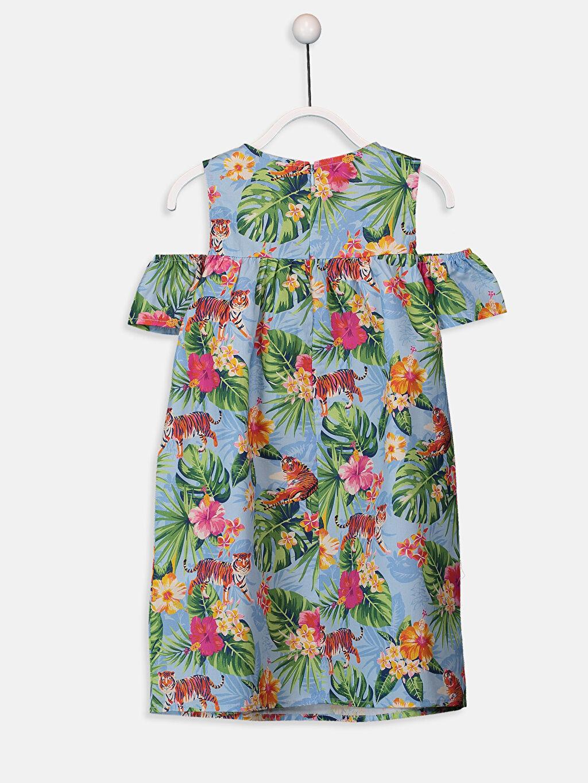 %100 Pamuk Diz Üstü Desenli Kız Çocuk Omuzu Açık Çiçekli Elbise