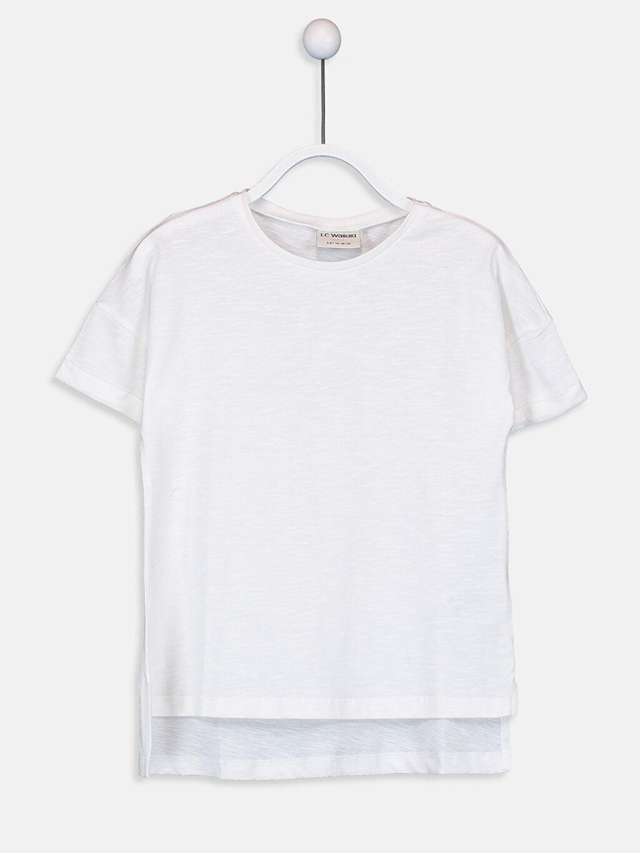 Ekru Kız Çocuk Pamuklu Basic Tişört 9SY757Z4 LC Waikiki