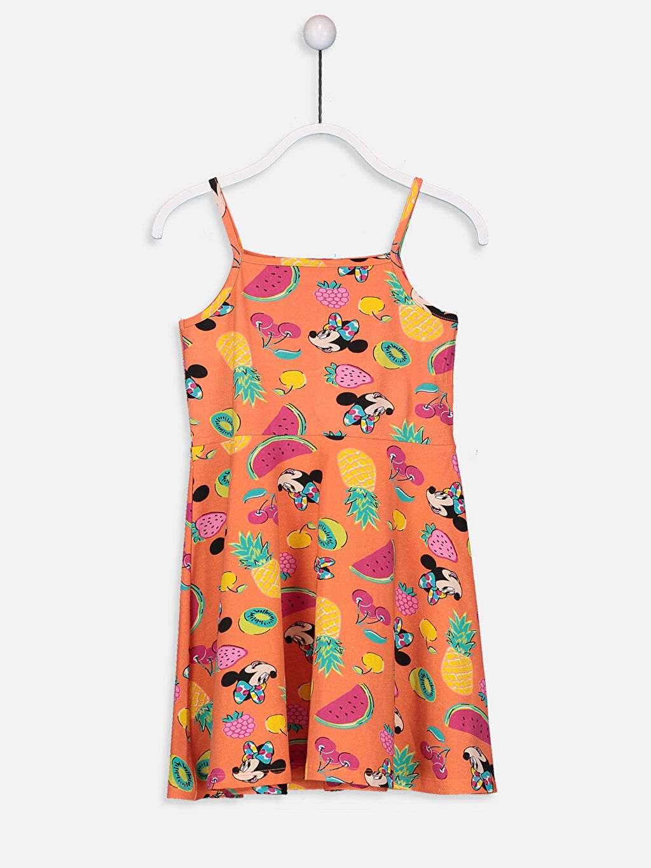 %100 Pamuk Diz Üstü Desenli Kız Çocuk Minnie Mouse Pamuklu Elbise