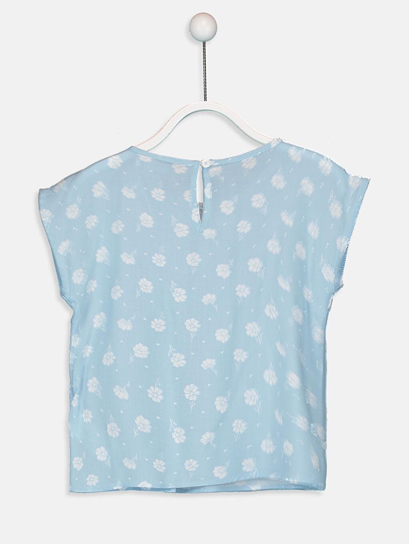 %100 Viskoz Standart Desenli Kısa Kol Bluz Kız Çocuk Çiçekli Viskon Bluz
