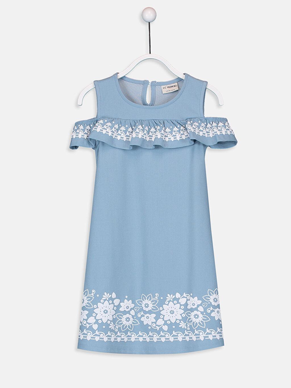 Mavi Kız Çocuk Omuzu Açık Desenli Elbise 9SA458Z4 LC Waikiki