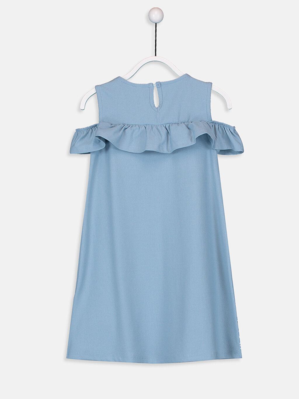 %72 Pamuk %24 Polyester %4 Elastan Diz Üstü Desenli Kız Çocuk Omuzu Açık Desenli Elbise
