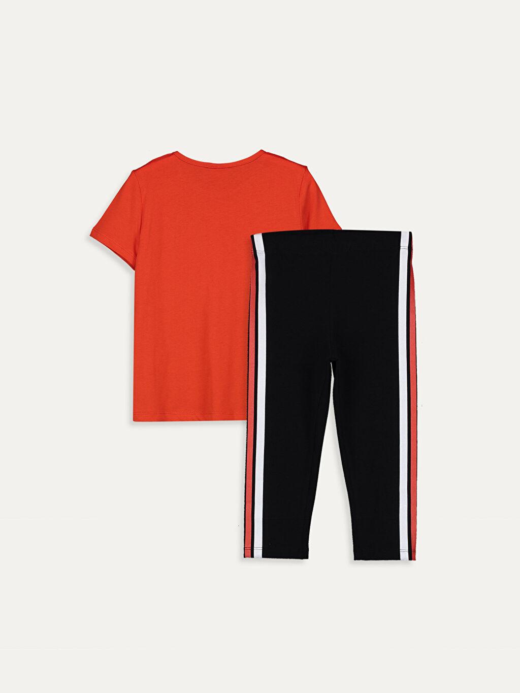 %100 Pamuk  Kız Çocuk Baskılı Tişört ve Tayt