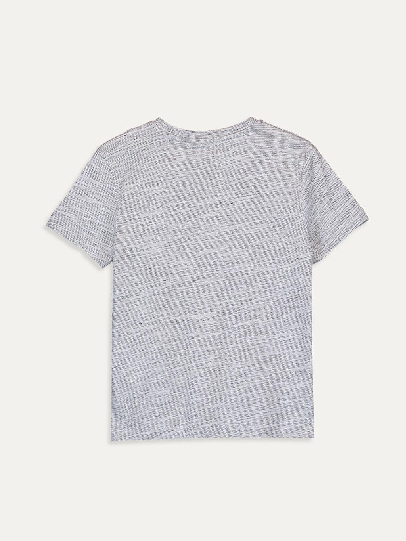 %71 Pamuk %29 Polyester Tişört Kısa Kol Baskılı Normal Bisiklet Yaka Erkek Çocuk Kısa Kollu Tişört