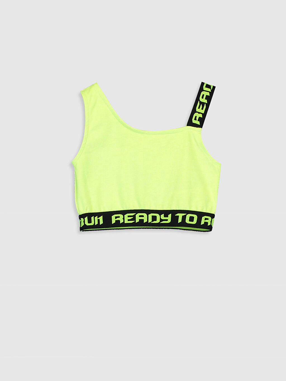 Yeşil Kız Çocuk Slogan Baskılı Yarım Atlet 9SA795Z4 LC Waikiki
