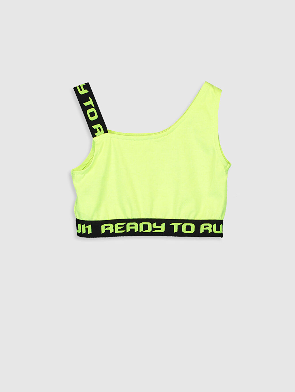 %47 Pamuk %50 Polyester %3 Elastan İç Giyim Üst Standart Kız Çocuk Slogan Baskılı Yarım Atlet