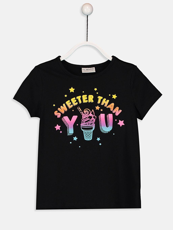 Siyah Kız Çocuk Baskılı Pamuklu Tişört 9SA802Z4 LC Waikiki