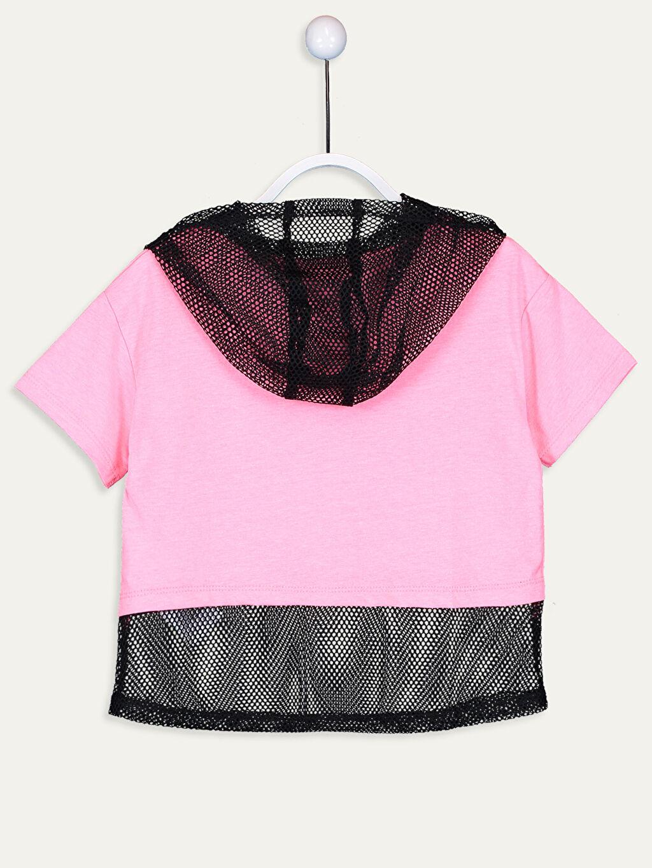 %50 Pamuk %50 Polyester Baskılı Tişört Kısa Kol Standart Kız Çocuk File Detaylı Kapüşonlu Tişört