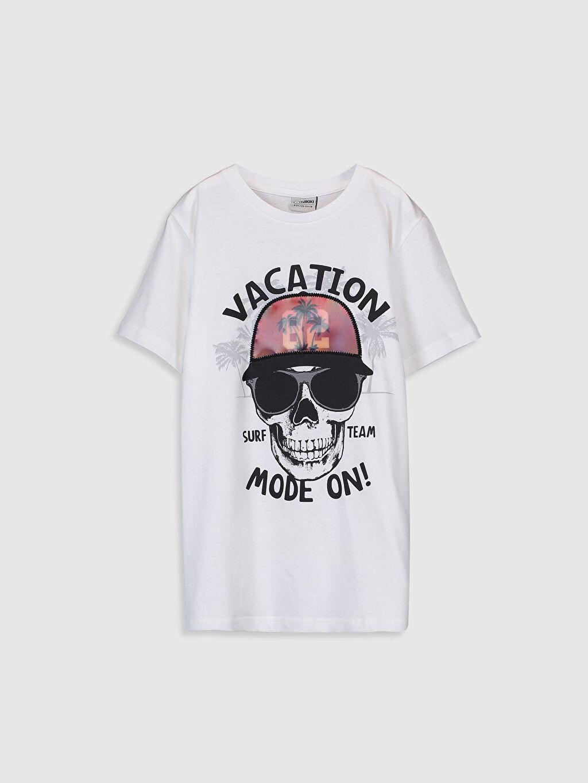 Beyaz Erkek Çocuk Baskılı Pamuklu Tişört 9SB887Z4 LC Waikiki