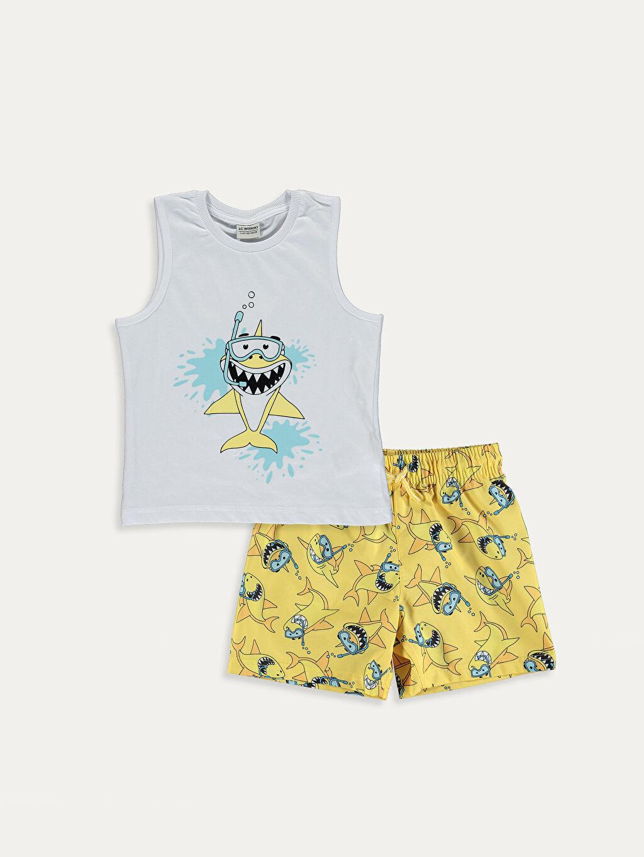 Sarı Erkek Çocuk Baskılı Yüzme Takımı 9SB945Z4 LC Waikiki