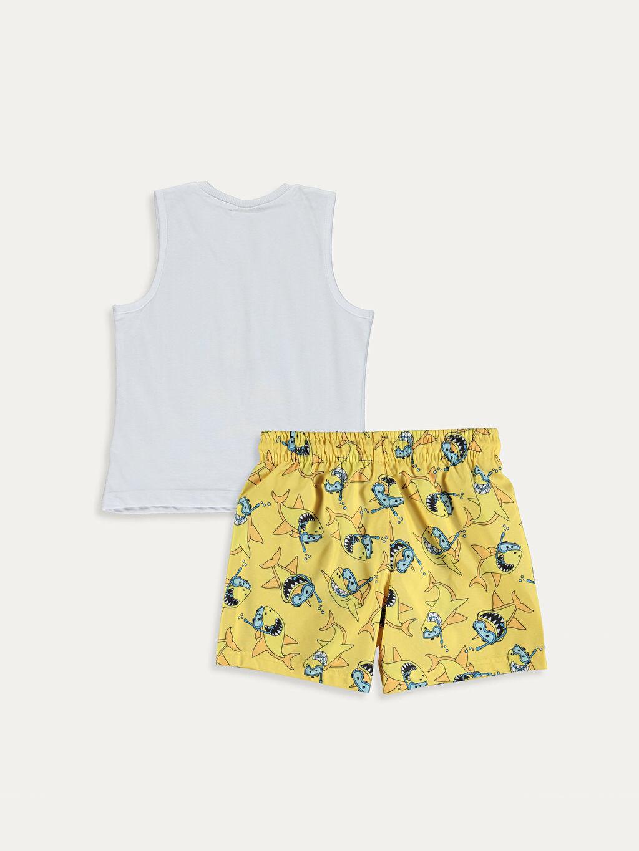 %100 Pamuk %100 Polyester %100 Polyester  Erkek Çocuk Baskılı Yüzme Takımı