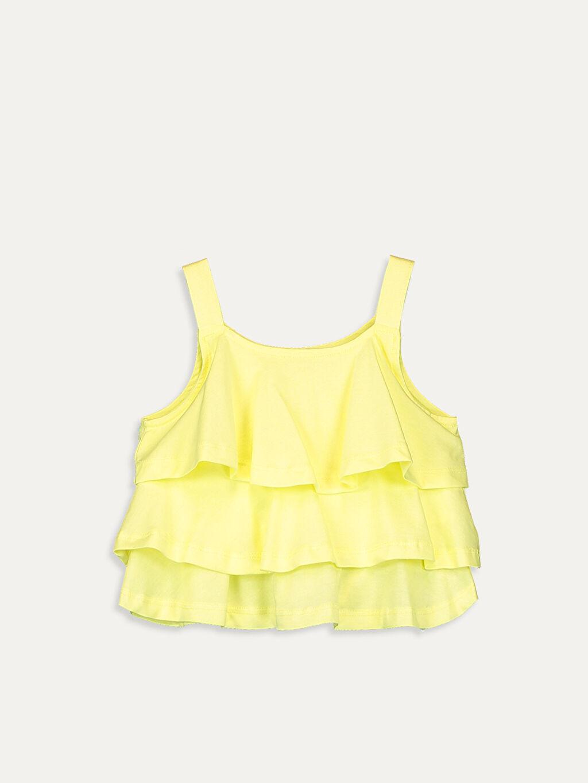 Sarı Kız Çocuk Fırfırlı Pamuklu Atlet 9SC511Z4 LC Waikiki