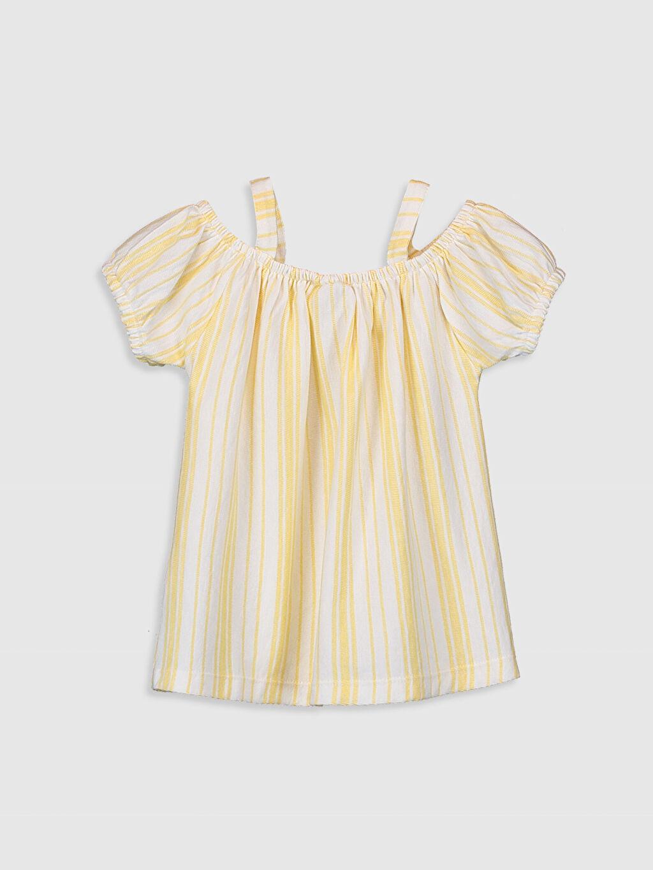 Sarı Kız Çocuk Çizgili Omuzu Açık Tişört 9SC540Z4 LC Waikiki