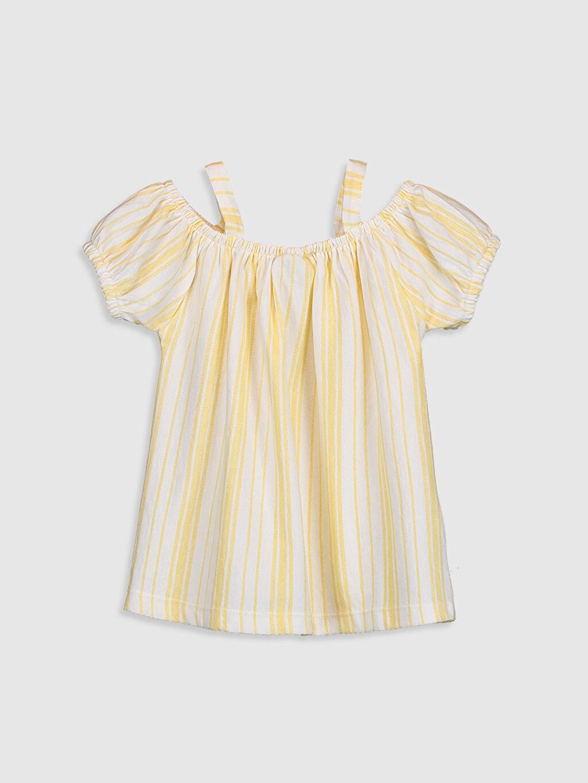 %85 Pamuk %12 Polyester %3 Viskoz Standart Çizgili Tişört Diğer Kısa Kol Kız Çocuk Çizgili Omuzu Açık Tişört