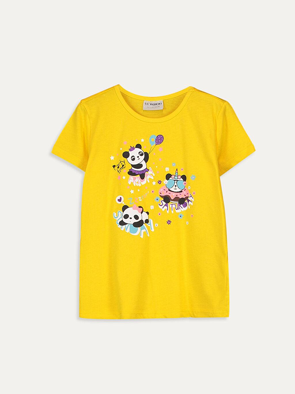 Sarı Kız Çocuk Baskılı Pamuklu Tişört 9SC801Z4 LC Waikiki