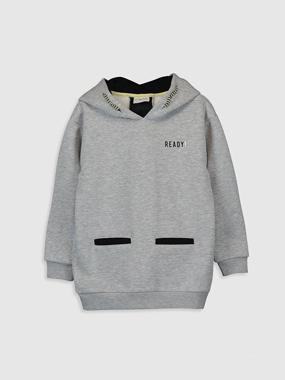 Gri Kız Çocuk Kapüşonlu Sweatshirt 9WY735Z4 LC Waikiki