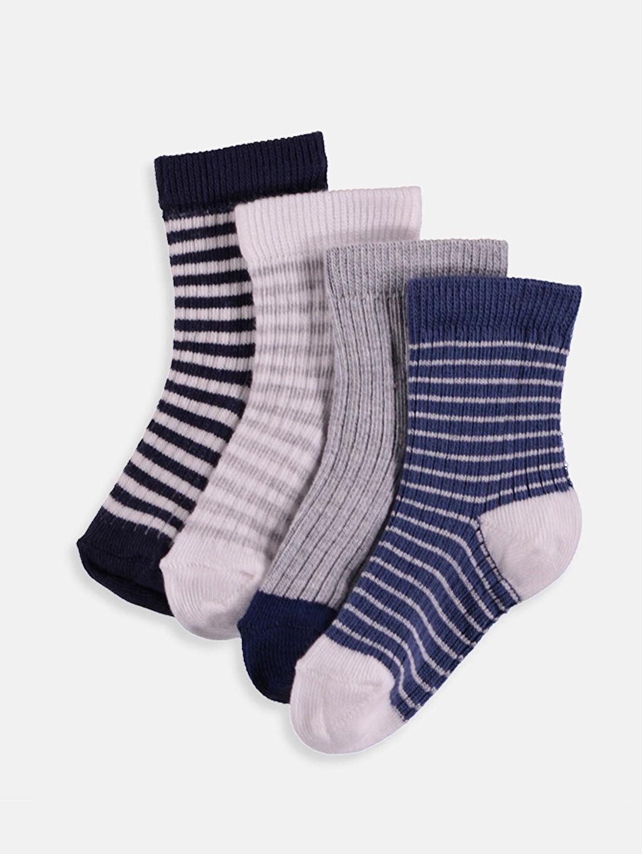 Beyaz Erkek Bebek Soket Çorap 4'lü 9S2249Z1 LC Waikiki