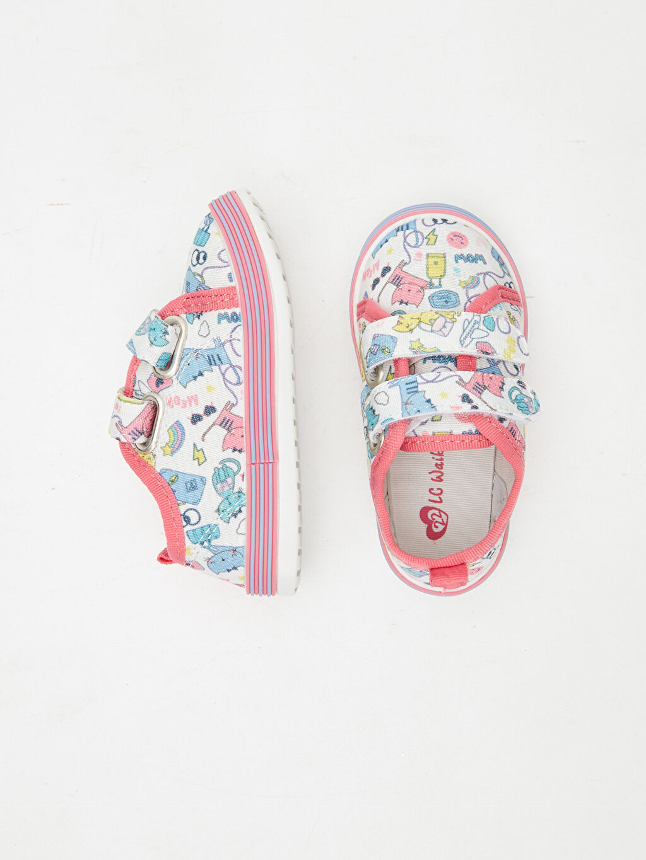 %0 Tekstil malzemeleri (%100 poliester)  Kız Bebek Baskılı Spor Ayakkabı