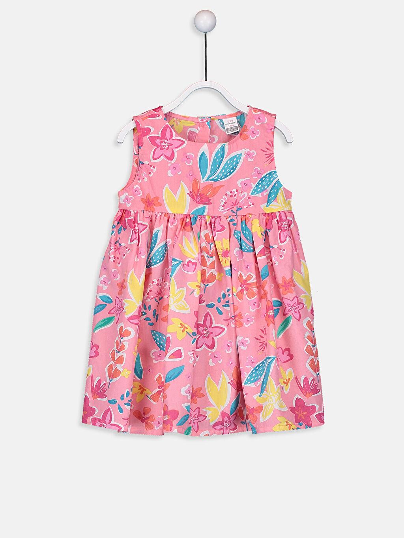 Pembe Kız Bebek Desenli Poplin Elbise 9S3292Z1 LC Waikiki