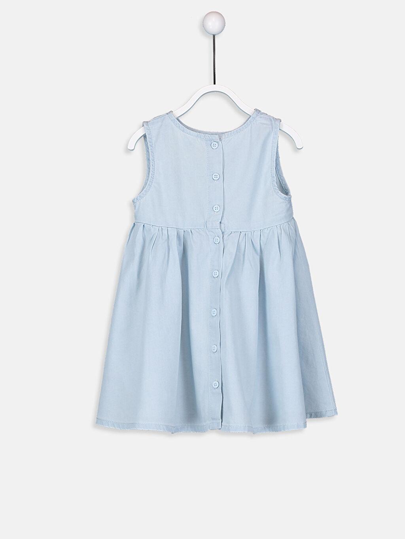 %100 Pamuk Düz Kız Bebek Nakışlı Jean Elbise