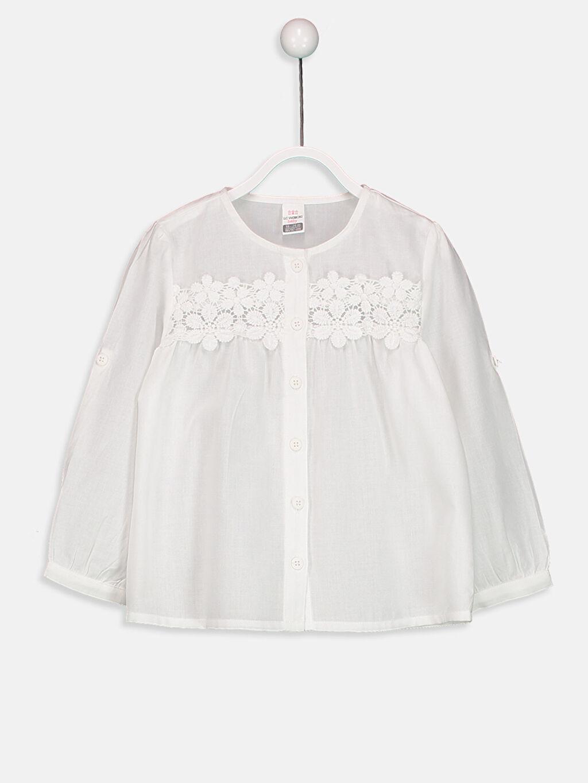 %100 Pamuk Standart Uzun Kol Düz Kız Bebek Fisto Detaylı Gabardin Gömlek