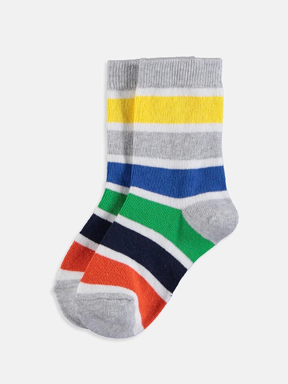 %77 Pamuk %21 Poliamid %2 Elastan  Erkek Bebek Soket Çorap 4'lü