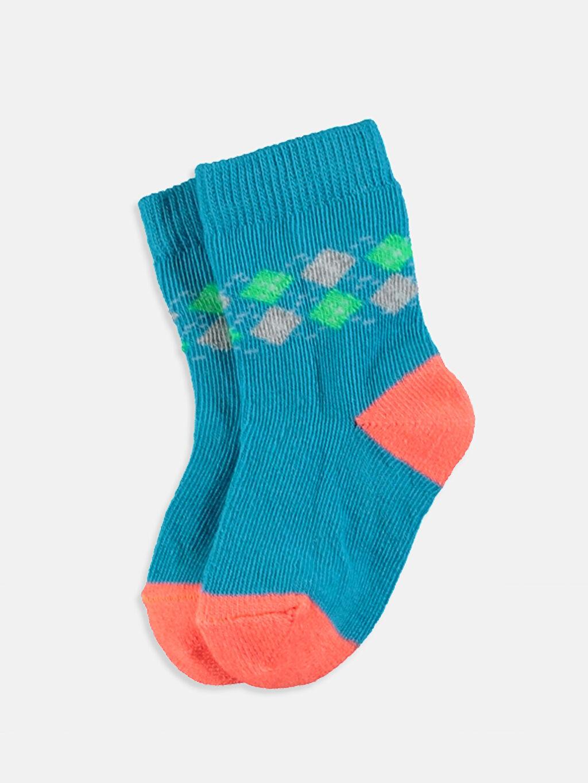 %58 Pamuk %17 Poliamid %23 Akrilik %2 Elastan  Erkek Bebek Soket Çorap 4'lü
