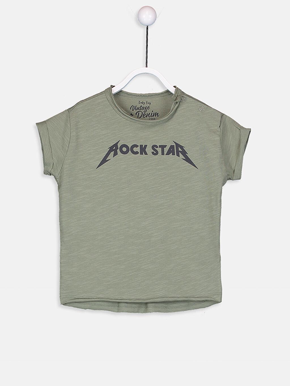 Yeşil Erkek Bebek Pamuklu Yazı Baskılı Tişört 9S5072Z1 LC Waikiki