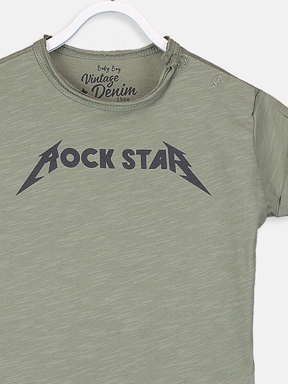 Erkek Bebek Erkek Bebek Pamuklu Yazı Baskılı Tişört