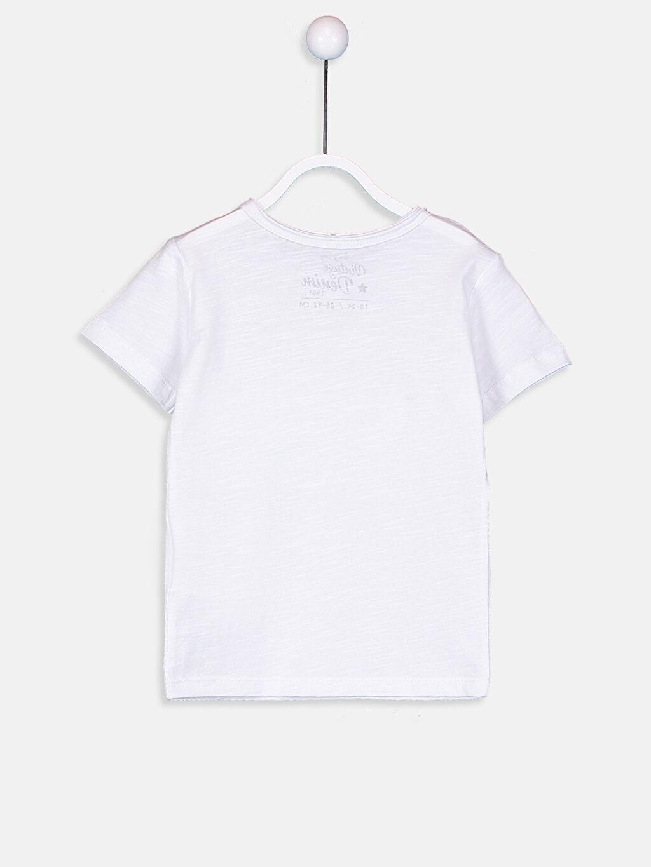 %100 Pamuk Baskılı Kısa Kol Bisiklet Yaka Normal Tişört Erkek Bebek Pamuklu Baskılı Tişört