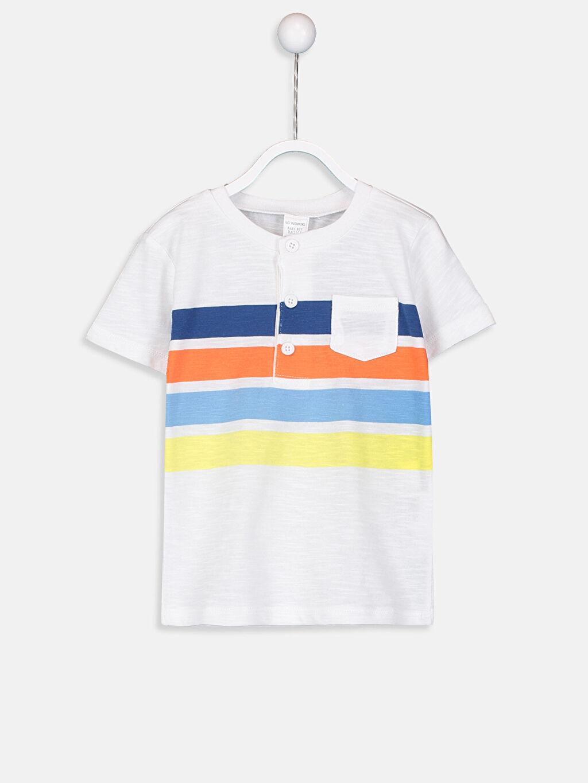 Beyaz Erkek Bebek Çizgili Tişört 9S5082Z1 LC Waikiki