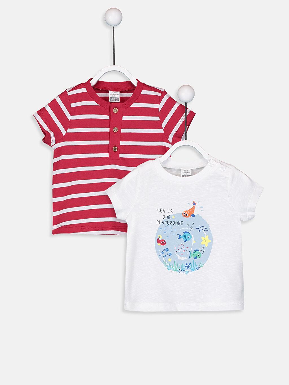 Kırmızı Erkek Bebek Pamuklu Tişört 2'li  9S5321Z1 LC Waikiki