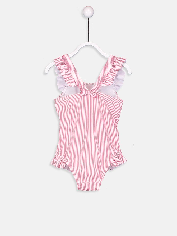 %83 Polyester %17 Elastan Kız Bebek Desenli Çizgili Mayo