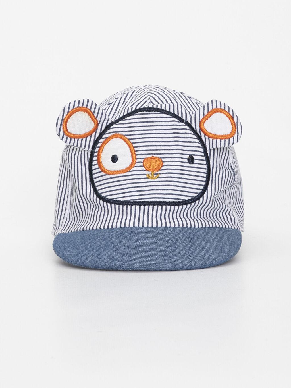 %100 Pamuk %100 Pamuk Şapka Erkek Bebek Çizgili Şapka