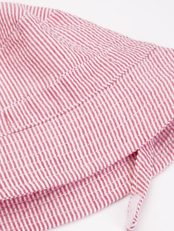 %15 Pamuk %85 Polyester %100 Pamuk  Erkek Bebek Çizgili Dokuma Şapka