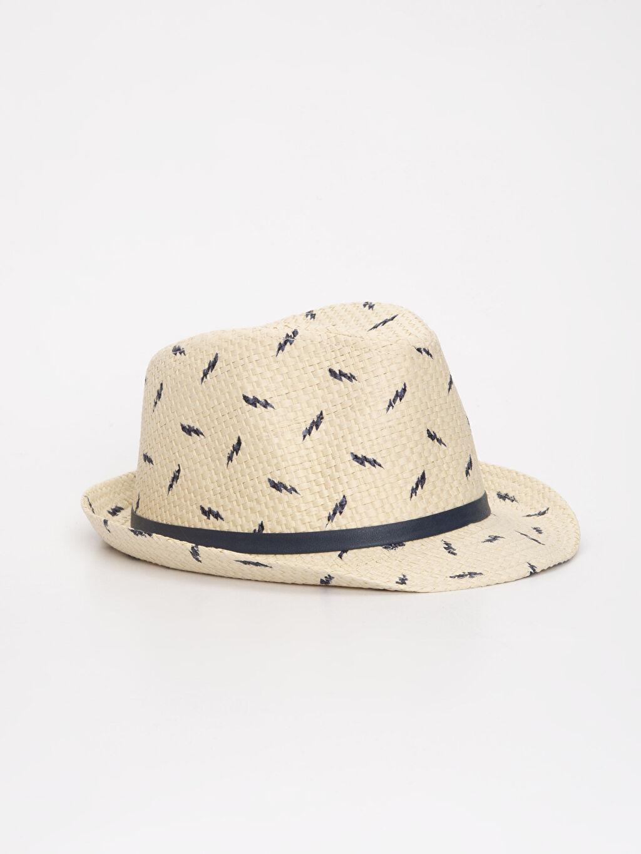 Lacivert Erkek Bebek Desenli Hasır Şapka 9S6068Z1 LC Waikiki