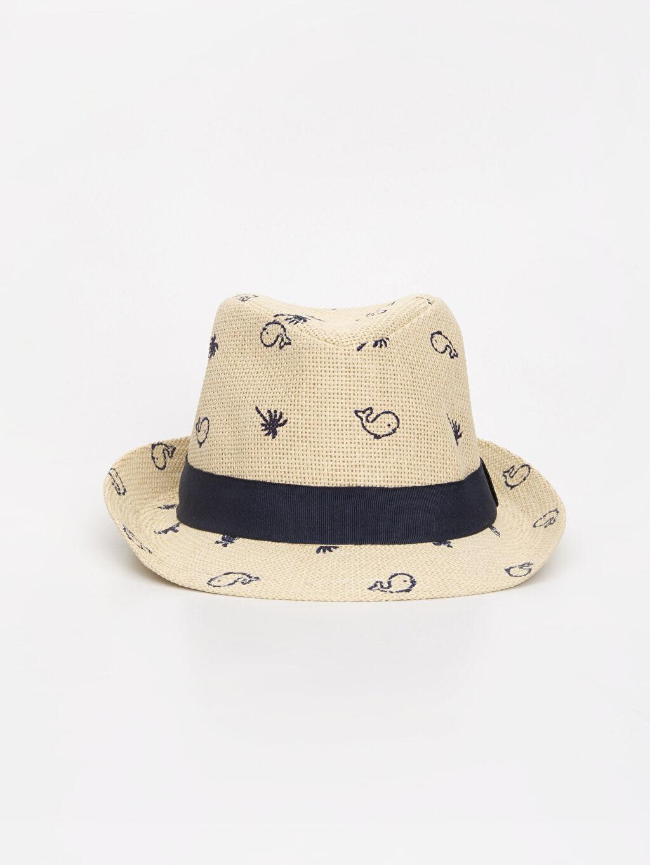 %100 Kağıt %100 Polyester Saat Erkek Bebek Desenli Hasır Şapka