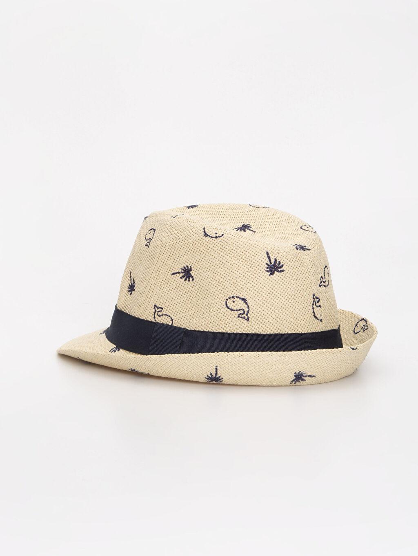 Erkek Bebek Erkek Bebek Desenli Hasır Şapka