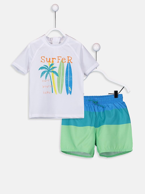 Beyaz Erkek Bebek Baskılı Yüzme Takım 9S6852Z1 LC Waikiki