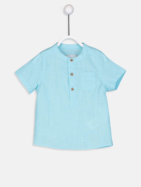 Turkuaz Erkek Bebek Poplin Gömlek 9S6886Z1 LC Waikiki
