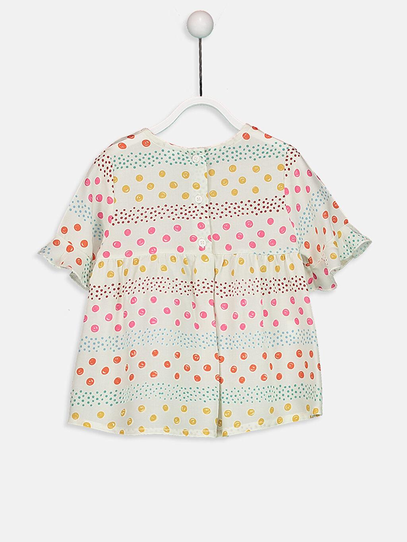 %100 Viskoz Standart Bluz Desenli Kısa Kol Desenli Viskoz Bluz