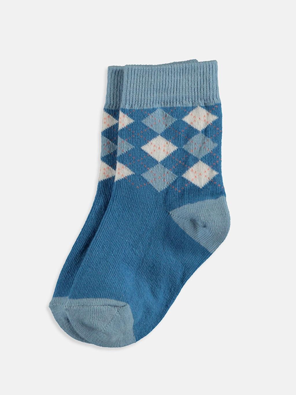 %77 Pamuk %22 Poliamid %1 Elastan  Erkek Bebek Soket Çorap 4'lü