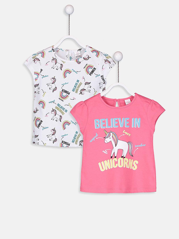 Beyaz Kız Bebek Pamuklu Unicorn Desenli Tişört 9S7790Z1 LC Waikiki