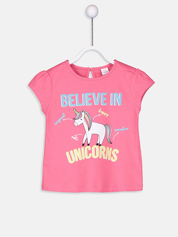 Kız Bebek Kız Bebek Pamuklu Unicorn Desenli Tişört