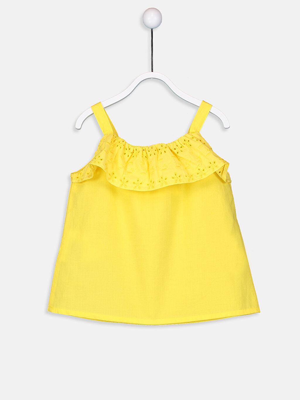 %100 Pamuk Standart Bluz Düz Kolsuz Kız Bebek Poplin Bluz